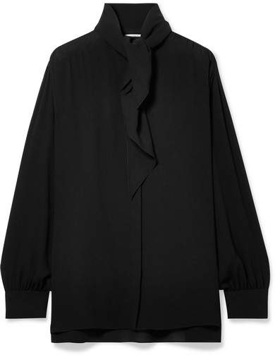 The Row Rudi Oversized Pussy-bow Silk-crepe Blouse - Black