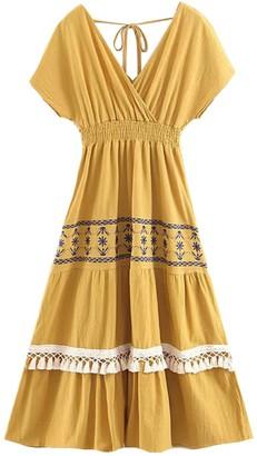 Goodnight Macaroon 'Ewana' Back Tied Embroidered Tassels Midi Dress (3 Colors)