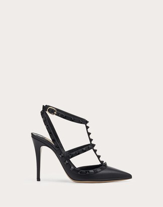 Valentino Rockstud Ankle Strap Pump With Tonal Studs 100 Mm Women Black Calfskin 100% 41.5