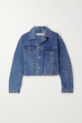 E.L.V. Denim The Twin Cropped Vintage Match Distressed Denim Jacket - Mid denim