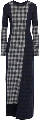 Maison Margiela Paneled Checked Knitted Maxi Dress