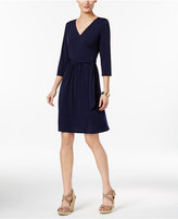 NY Collection Petite Solid Wrap Dress