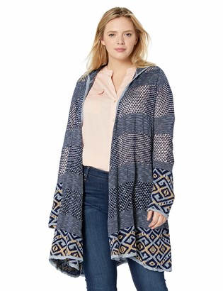 One World ONEWORLD Women's Plus Size Border Print Long Hooded Cardigan