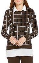 Investments With Collar and Shirttail Hem Long Sleeve Grid Print Sweater