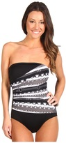 MICHAEL Michael Kors Status Stripe Shirred Maillot (Black Multi) - Apparel