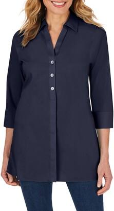 Foxcroft Pamela Stretch Button-Up Tunic