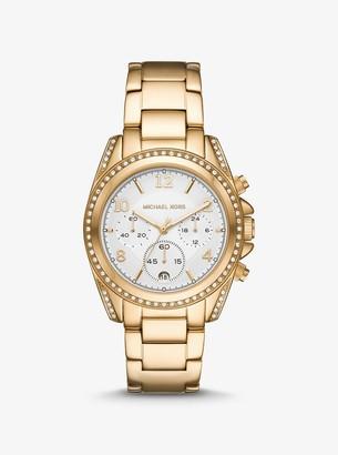 Michael Kors Oversized Blair Pave Gold-Tone Watch