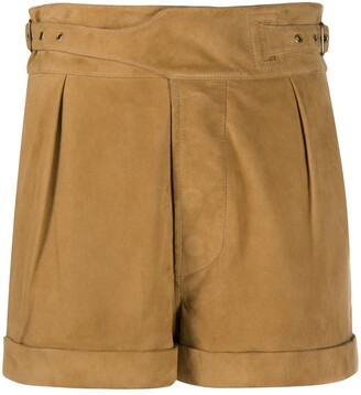 Saint Laurent Buckle-Detail Pleated Shorts