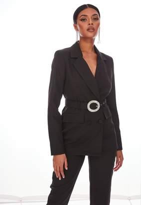 Missguided Black Co Ord Diamante Buckle Belt Blazer