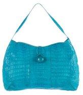Nancy Gonzalez Stone-Embellished Crocodile Shoulder Bag