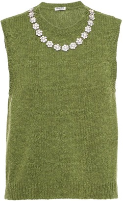 Miu Miu Floral Crystal Trim Knitted Vest