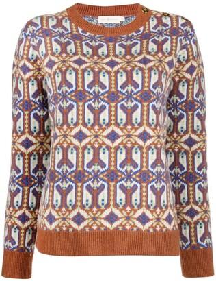 Tory Burch Geometric-Pattern Wool Jumper