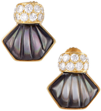 Mother of Pearl heritage Mauboussin Mauboussin 18K Yellow Gold 1.00 Ct. Tw. Diamond & Mother-Of-Pearl Earrings