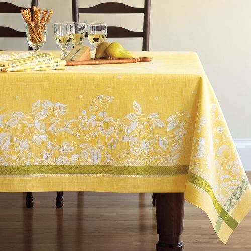 Williams-Sonoma Farmer's Market Jacquard Tablecloths, Yellow/Green