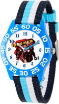 Marvel Boys Blue And White Civil War Iron Man Time Teacher Plastic Strap Watch W003116