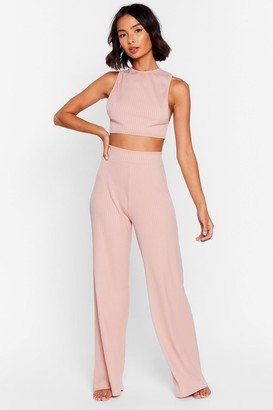 Nasty Gal Womens Side Show Crop Top and Wide-Leg Pants Lounge Set - Blush