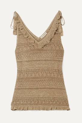 Ulla Johnson Noley Tasseled Metallic Crochet-knit Tank - Gold