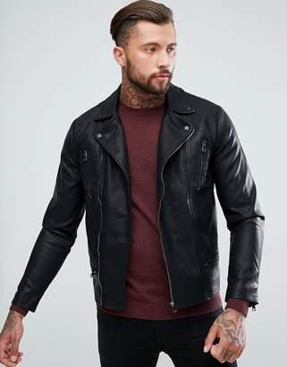 New Look Biker Jacket With Zip Detailing In Black