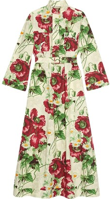 Gucci Poppy Print Belted Maxi Dress