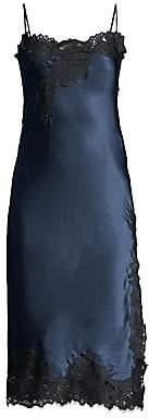 Oscar de la Renta Sleepwear Women's Night Lace-Trim Silk-Blend Slip Dress