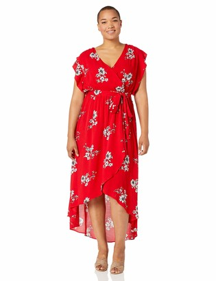 City Chic Women's Apparel Women's Plus Size Maxi Printed Dress with tie Waist