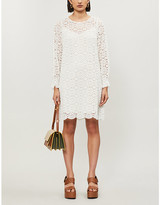 See by Chloe Floral-embroidered stretch-lace mini dress