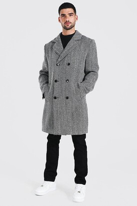 boohoo Mens Black Wool Blend Herringbone Double Breasted Overcoat, Black