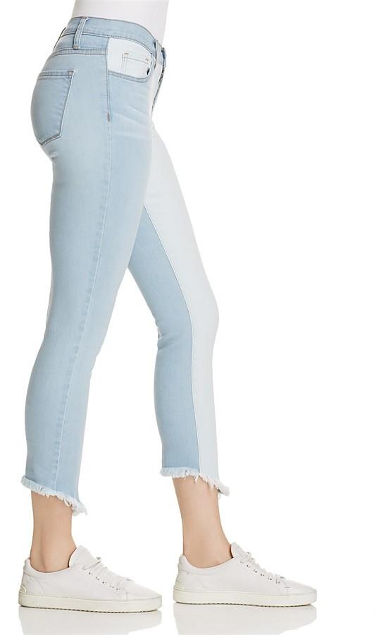 Flying Monkey Contrast Skinny Jeans in Light Wash