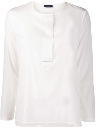 Peserico Collarless Round-Neck Blouse