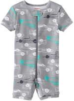 Joe Fresh Baby Boys' Graphic Short Sleeve Sleeper, Smoke (Size 0-3)