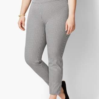 Talbots Mini Check Cotton Bi-Stretch Pull-On Skinny Ankle Pant