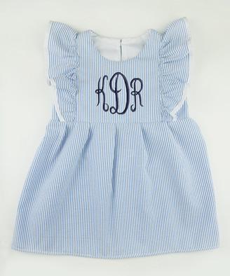 CaughtYaLookin' Caught Ya Lookin' Girls' Casual Dresses Blue - Blue & Navy Seersucker Monogram Angel-Sleeve Dress - Infant, Toddler & Girls