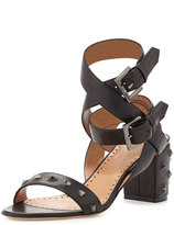 Alexa Wagner Nell Studded Leather Ankle-Wrap Sandal, Nero