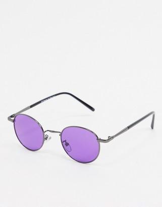 A. J. Morgan AJ Morgan round sunglasses in gunmetal with purple lens