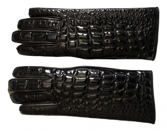 Versace Black Patent leather Gloves