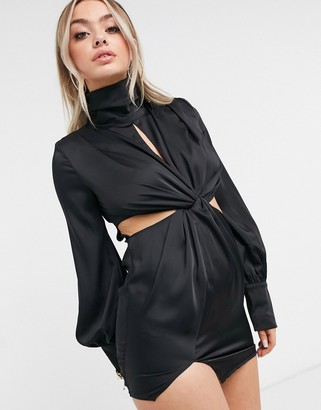 I SAW IT FIRST high neck twist front satin dress in black