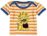 Rockin' Baby Striped Out of Africa Lion Applique T-Shirt in White/Orange