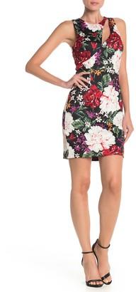 Alexia Admor Front Cutout Floral Print Scuba Sheath Dress