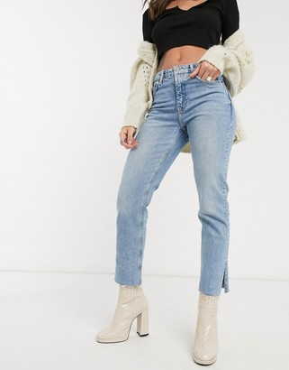 Topshop split hem straight leg jeans in bleach wash