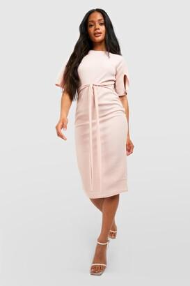 boohoo Split Sleeve Detail Wiggle Midi Dress