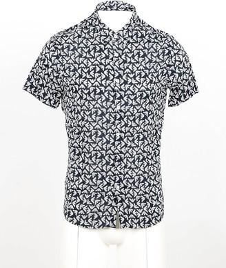 Emporio Armani Black and White Eagle Printed Cotton Short Sleeve Shirt