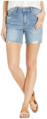 Paige Sarah Longline Shorts w/ Raw Hem in Haddie Destructed