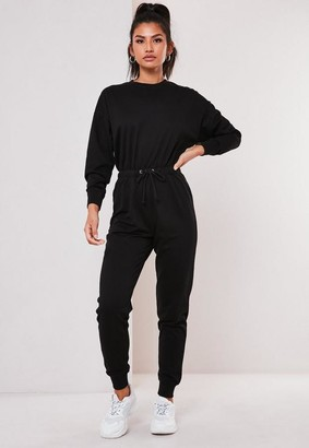 Missguided Black Drop Shoulder Drawstring Waist Romper
