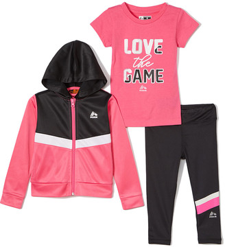 Rbx RBX Girls' Non-Denim Casual Jackets SUPER - Hot Pink & Black 'Love the Game' Hooded Track Jacket Set - Toddler & Girls