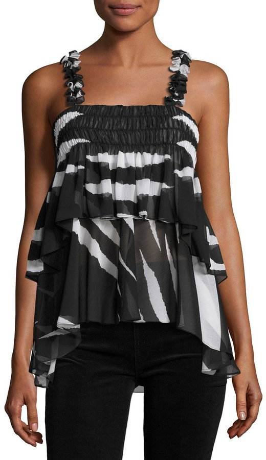 Tory Burch Lucca Sleeveless Animal-Striped Ruffled Top, Black/White