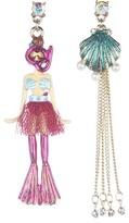 Betsey Johnson Jewels of the Sea Non-Matching Mermaid Seashell Earrings (Multi) - Jewelry