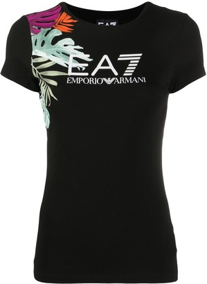 EA7 Emporio Armani tropical logo short sleeved T-shirt