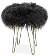 Le-Coterie Le Coterie Curly Hairpin Stool - Silver/Charcoal frame, silver; upholstery, gray