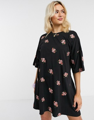 ASOS DESIGN oversized t-shirt dress with floral embroidery all over design