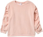 Harper Canyon Ruched Sleeve Velour Sweater (Big Girls)